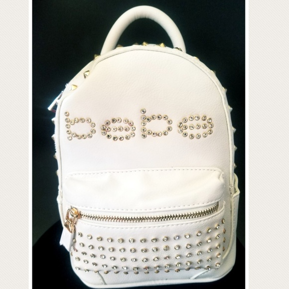 794320915bd Bebe White and Gold Studded Mini backpack NWT